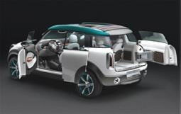 BMW Mini Crossover Car Concept with Folding Roof Cover and MINI Center Globe